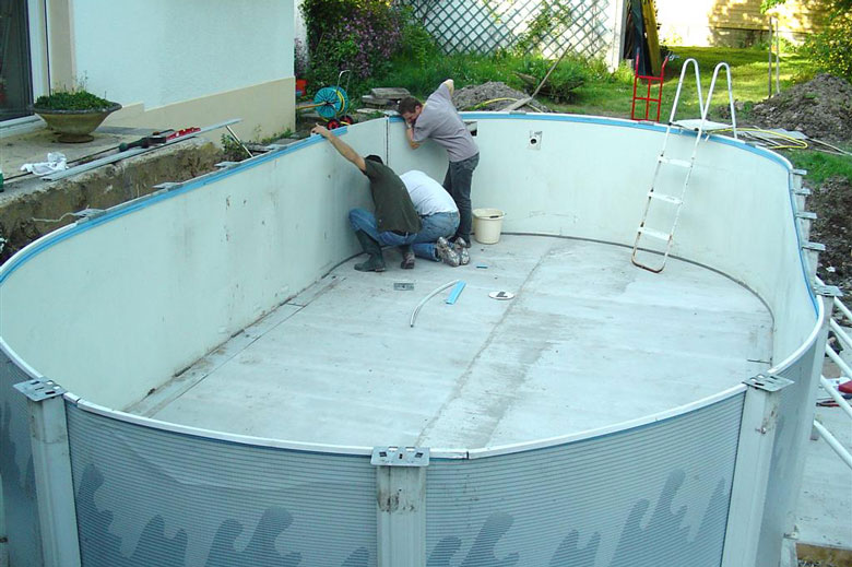 Installation piscine hors sol for Piscine hors sol enterrable